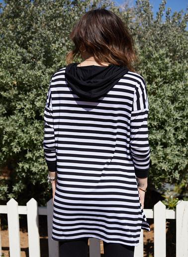 XHAN Kapüşonlu Çizgili Tunik Boy Sweatshirt 0Yxk8-43466-02 Siyah